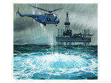 Helicopter Approaches an Oil Rig Giclee Print by Angus Mcbride