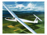 Dr. Brennig James, the First British Pilot to Fly 500 Miles in a Glider Giclee Print by Wilf Hardy