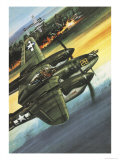 Famous Aircraft and Their Pilots: Lockheed Lightning - Major Richard I. Bong Giclee Print by Wilf Hardy