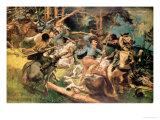 Hungarian Hussars and Russian Cossacks Fighting in the Carpathian Mountains in 1915 Giclee Print by Viktor Tardos