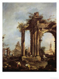 Landscape with Ruins Giclee Print by Francesco Guardi
