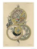 Flowers and Flies, Plate 12, Fantaisies Decoratives, Pub. Rouam, Paris, 1887 Giclee Print by Jules Auguste Habert-dys