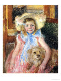 Sara and Her Dog, c.1901 Giclee Print by Mary Cassatt