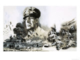 Douglas Macarthur with D-Day Landing Scenes Giclee Print by Graham Coton
