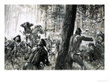In 1765, General Edward Braddock Was Ambushed by French Soldiers and Fierce Canadian Indians Giclee Print by Graham Coton