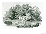 Angler in a River Pool Giclee Print by Thomas Bewick