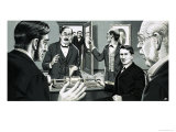 Thomas Alva Edison Turning the Handle of the First Phonograph Giclee Print by John Keay
