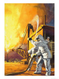 Fireman in Safety Suit Fighting a Fire at an Oil Field Giclee Print by Angus Mcbride