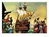 Departure of the Pilgrim Fathers For America Giclee Print by Ron Embleton