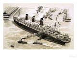 The Steamer Leviathan is Coaxed Towards a Pier at New York Harbour by Tugs Giclee Print by John S. Smith