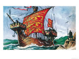 English Sailing Vessel of the 13th Century Giclee Print by Dan Escott