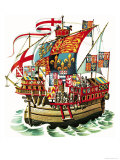 Banners Into Battle: King Edward IV Sails Against France Giclee Print by Dan Escott