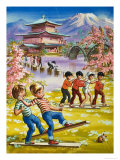 Wee Willie Winkie Goes to a Japanese Park and Discovers an Odd Children's Racing Game Giclee Print by John Worsley