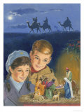 Children Admiring Nativity Scene Giclee Print by Clive Uptton