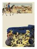 Wee Willie Winkie Goes Cattle Driving Giclee Print by John Worsley