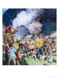 Families Leaving Natural Disaster Giclee Print by James Edwin Mcconnell