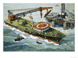 The Galatea, Fitted with a Heavy Lifting Crane Giclee Print by John S. Smith