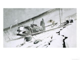 Unidentified Biplane Landing on Cracked Ice Giclee Print by Graham Coton