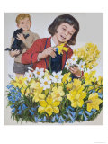 Schoolgirl Arranging Daffodils and Bluebells Giclee Print by Clive Uptton