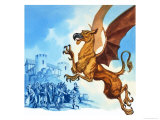 The Legend of Gudrun: Hagen and the Griffins Giclee Print by Ron Embleton