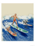 Wee Willie Winkie Goes Surf-Riding Giclee Print by John Worsley