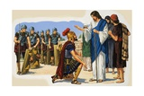 Christ Blessing a Roman Soldier Giclee Print by Clive Uptton