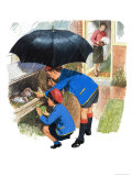 Schoolboy and Schoolgirl Feeding Their Guinea Pigs Giclee Print by Clive Uptton