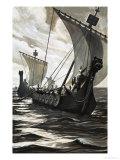 Viking Longboats Giclee Print