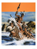 The Story of New Zealand: A Maori Boat Giclee Print by Oliver Frey