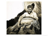 Mohammed Khan Discovers the Body of a Big Fish in a Pool Giclee Print by G. W Backhouse