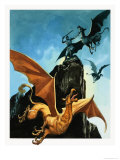 The Legend of Gudrun: Hagen Slays the Griffin Giclee Print by Ron Embleton