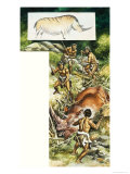 Prehistoric Men Killing Wild Animal Giclee Print by Ron Embleton