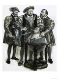 Henry VIII Agrees to Plans to Sail to China by a North-East Passage Giclee Print by Clive Uptton