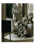 Family Watching Black and White Television in the 1960S Giclee Print by Ron Embleton