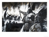 Unidentified Viking Scene with Longship Aflame Giclee Print by Andrew Howat