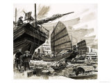Unidentified Scene of Chinese Boats in Harbour Giclee Print by Francis Phillipps