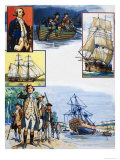 Scrapbook of the British Sailor, Captain James Cook Giclee Print by Eric Parker