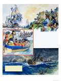 Scrapbook of the British Sailor, Victory at Vigo Bay Giclee Print by Eric Parker