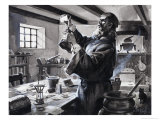 Roger Bacon, the Inventor of Gunpowder Giclee Print by James Edwin Mcconnell