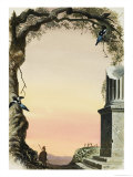 Cartouche with Crucifixion in the Distance Giclee Print by Francis Phillipps
