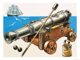 Naval Cannon of Late 18th Century Giclee Print by Dan Escott