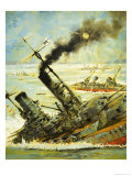 Scuttling the Great German Fleet at Scapa Flow Giclee Print by Graham Coton
