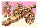 Cannons: Cast Bronze Field Gun Giclee Print by Dan Escott