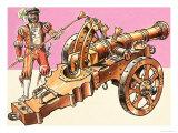 Cannons: Cast Bronze Field Gun Giclee Print by Dan Escott