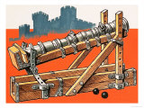 Wrought-Iron Breechblock Cannon on Wooden Support Giclee Print by Dan Escott