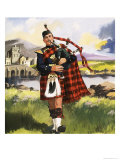 Scotsman Playing Bagpipes Giclee Print