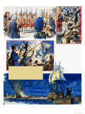 Scrapbook of the British Sailor, Fighting the French Giclee Print by Eric Parker