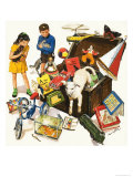 The Treasure Trove: A Trunk Bursts Open Releasing Toys, Books, Dolls and Animals Giclee Print by Clive Uptton