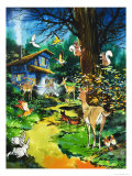 Woodland Animals Visit a Fairy House Giclee Print by Jesus Blasco