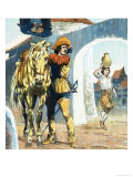 Unidentified Picture of Cavalier Outside an Inn with Horse Giclee Print by Jesus Blasco